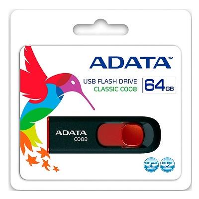 Adata Memoria Usb 2 0 64gb C008 Negro Con Rojo Retracti
